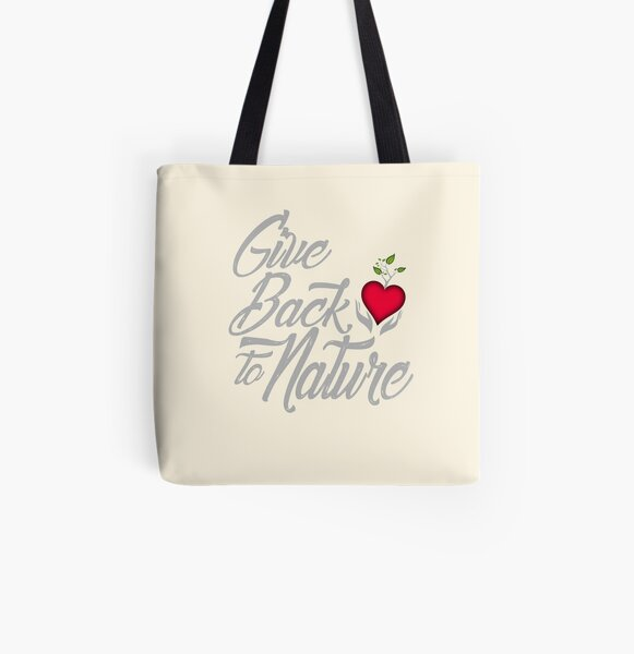 Give Back To Nature Slogan - Black Background - Small Logo All Over Print Tote Bag