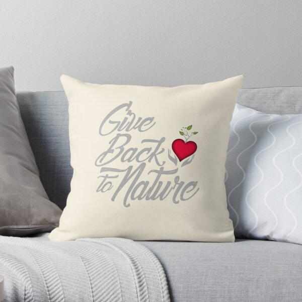 Give Back To Nature Slogan - Black Background - Small Logo Throw Pillow