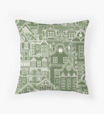 Camo Green / Cream Townhouses Folksy Throw Pillow