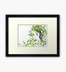 Girl with floral hair Framed Print