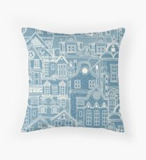 Country Blue / Cream Townhouses Folksy Throw Pillow