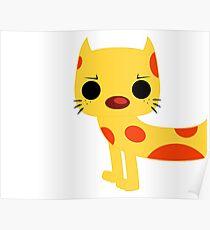 Chibi CAT Catdog - Cat, Dog, Cute, Yellow, Orange, Purple, 90s, Cartoon, TV, Fan, Fandom, Vintage, Retro, Inspired, Geek, Nerdy, Nerd, Funny, Humor, Fun, Silly, Funky, Fresh, Simple Poster