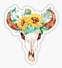 Sonnenblumeblumenstrauß, Stierschädel, Sonnenblumenschädel, Sonnenblumen, Aquarell, gemalte Sonnenblumen Sticker