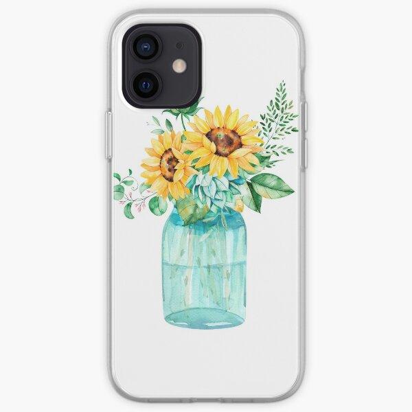 Sunflowers, Mason jar, sunflower bouquet, watercolor, watercolor sunflowers iPhone Soft Case