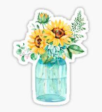Sunflowers, Mason jar, sunflower bouquet, watercolor, watercolor sunflowers Sticker