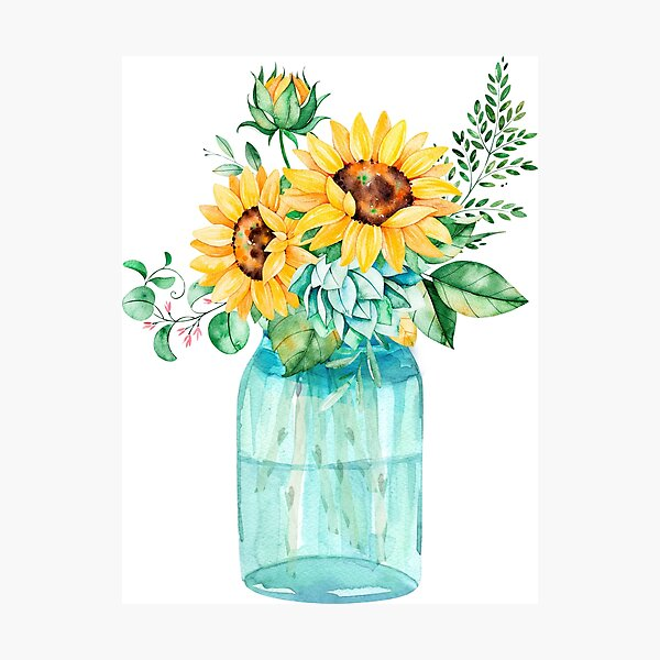 Sunflowers, Mason jar, sunflower bouquet, watercolor, watercolor sunflowers Photographic Print
