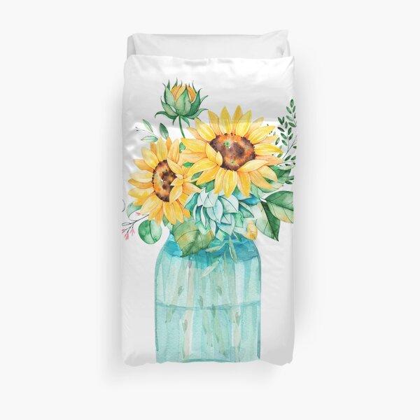 Sunflowers, Mason jar, sunflower bouquet, watercolor, watercolor sunflowers Duvet Cover