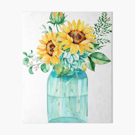 Sunflowers, Mason jar, sunflower bouquet, watercolor, watercolor sunflowers Art Board Print