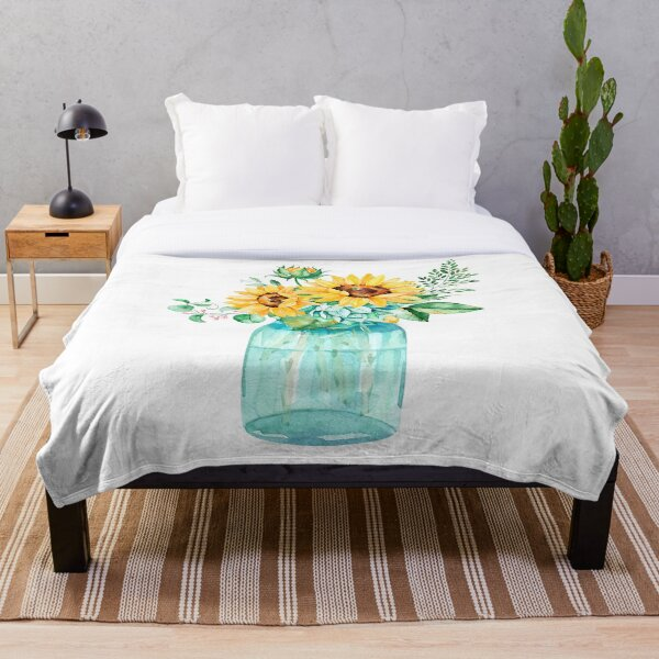 Sunflowers, Mason jar, sunflower bouquet, watercolor, watercolor sunflowers Throw Blanket