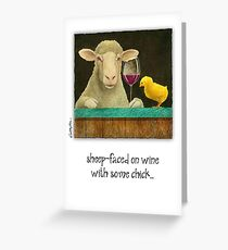 """Will Bullas """"Schaf-Gesicht auf Rotwein mit etwas Küken"""" Grußkarte"""