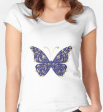 Butterfly, ornate Women's Fitted Scoop T-Shirt