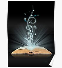 Open book magic on black Poster