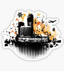 Cityscape background, urban art Sticker