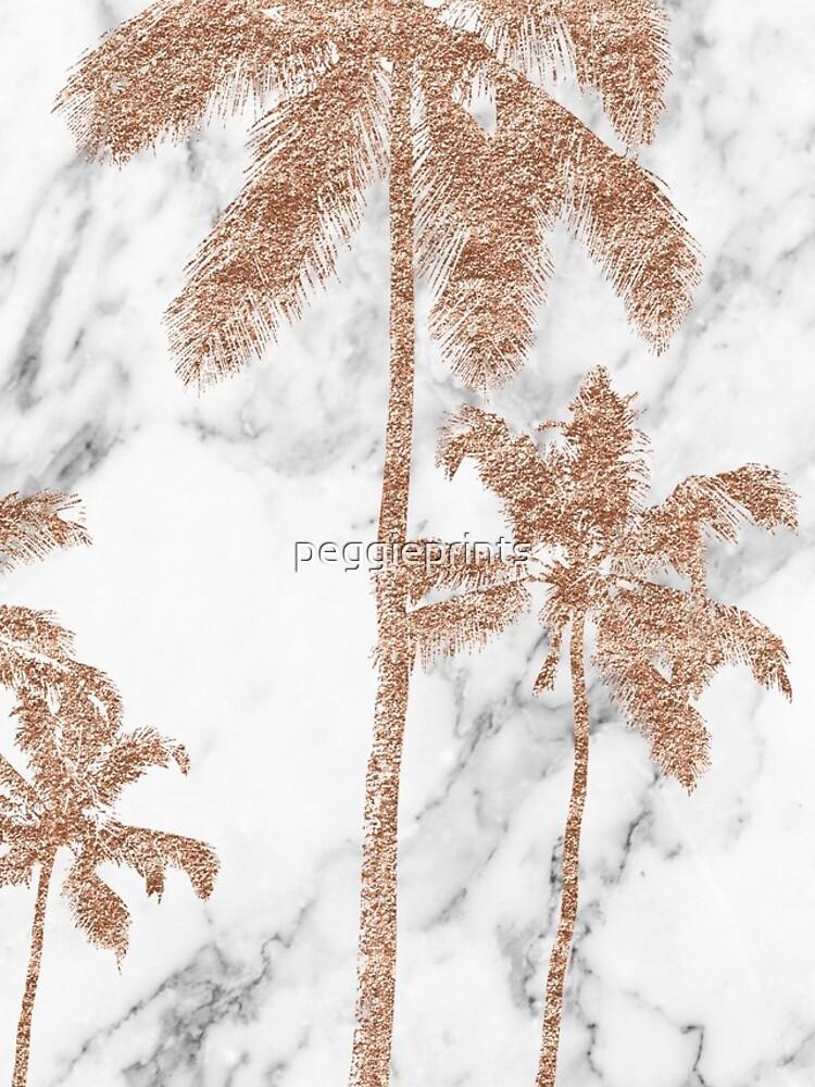 Rose Gold Marmor Palmen von peggieprints