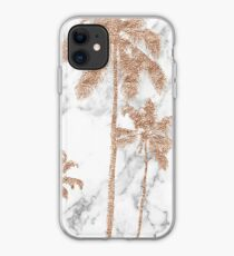Rose gold marble palms iPhone Case