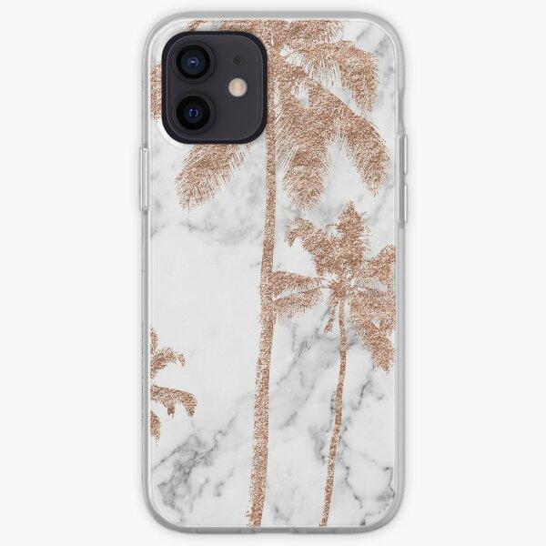 Paumes en marbre or rose Coque souple iPhone