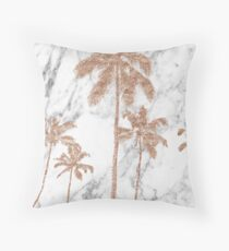 Rose gold marble palms Throw Pillow