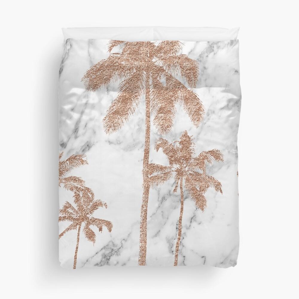 Rose gold marble palms Duvet Cover