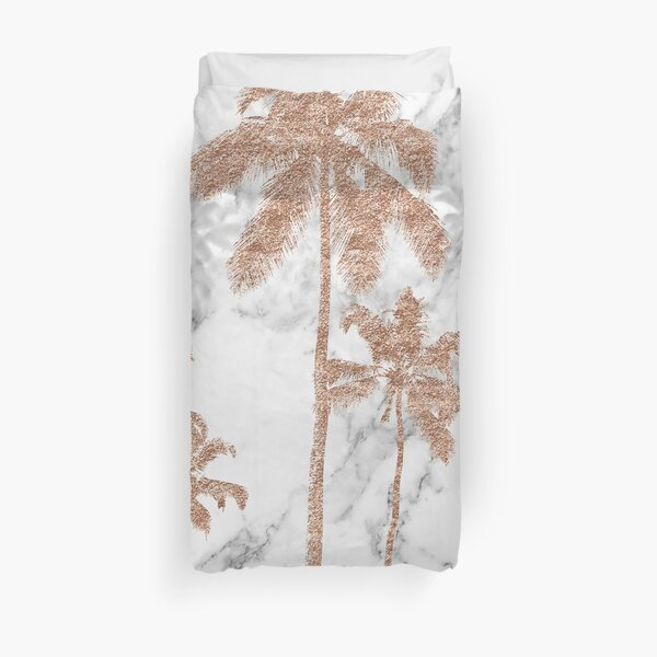 Rose gold marble palms Duvet Cover