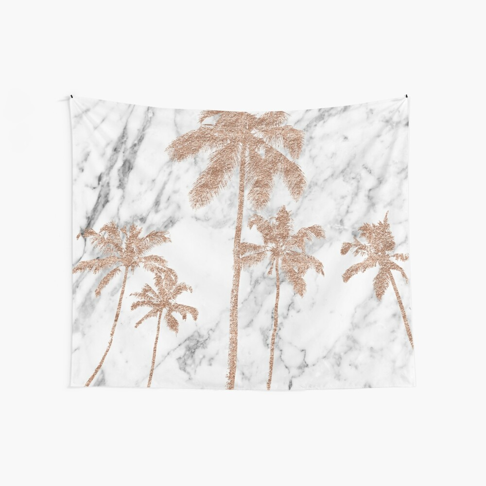 Rose gold marble palms Wall Tapestry