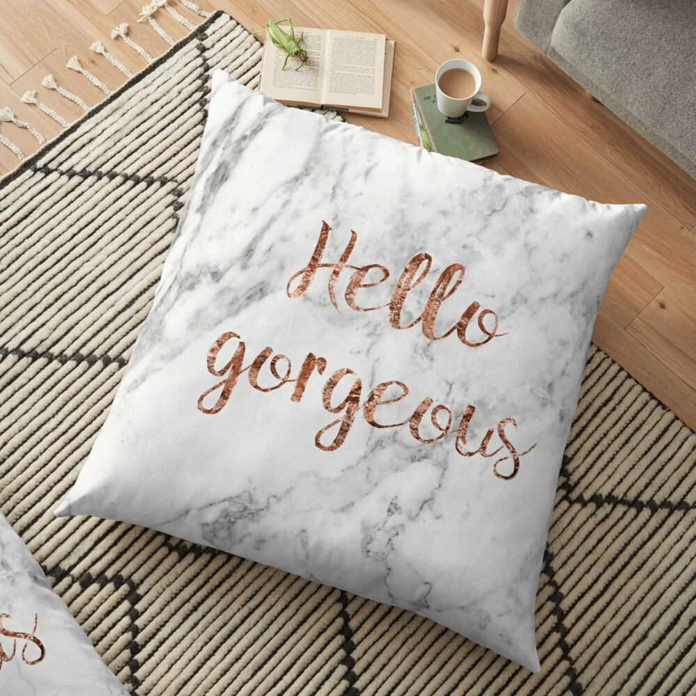 Hello gorgeous - rose gold marble Floor Pillow