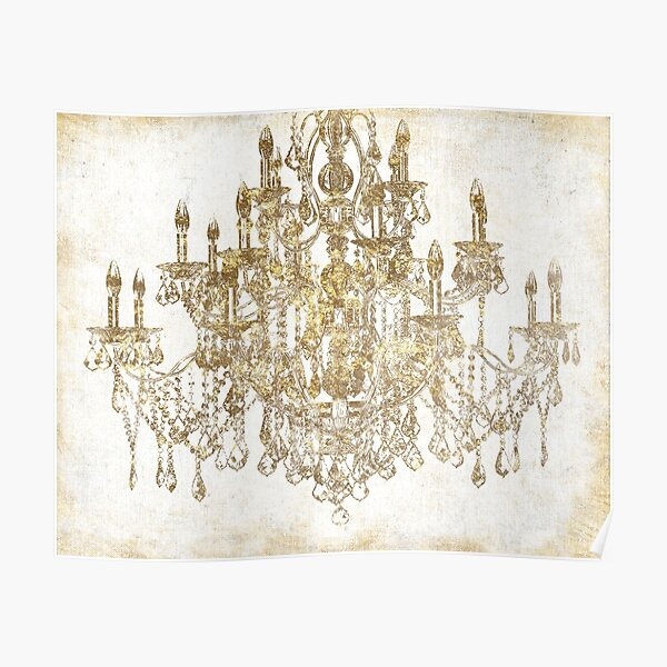 Distressed Gold Chandelier Poster