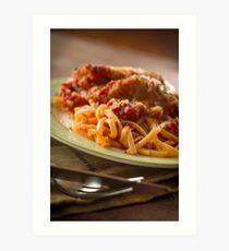 Chicken Parmesan with Linguine Art Print