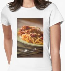 Chicken Parmesan with Linguine Women's Fitted T-Shirt