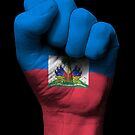 Flagge von Haiti auf einer angehobenen geballten Faust von jeff bartels