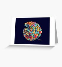 Regenbogen Pangolin Grußkarte