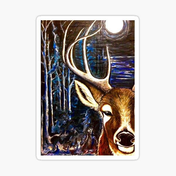 Deer at Midnight Sticker
