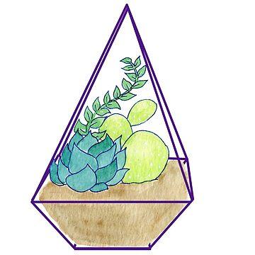 Succulent Terrarium Geometric Plants by JenniferCharlee