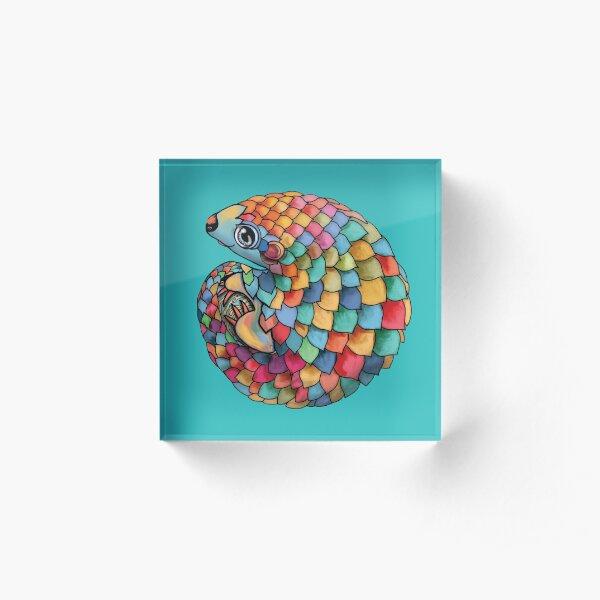 Rainbow Pangolin Acrylic Block