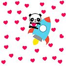 Love will make you fly into space like a Rocketpanda by pinklioness