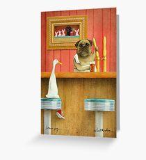Will Bullas / Kunstdruck / Gebräu Mops / Humor / Hund / Ente Grußkarte