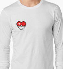 Pixel Pokeball Heart Long Sleeve T-Shirt