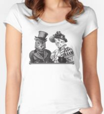 The Owl and the Pussycat | Black and White Women's Fitted Scoop T-Shirt