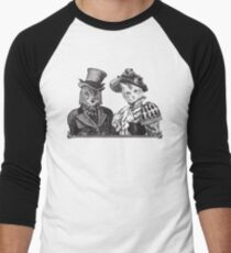 The Owl and the Pussycat | Black and White Men's Baseball ¾ T-Shirt