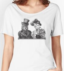 The Owl and the Pussycat | Black and White Women's Relaxed Fit T-Shirt