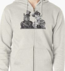 The Owl and the Pussycat | Black and White Zipped Hoodie