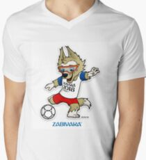 russia 2018 mascot world cup ketan Men's V-Neck T-Shirt