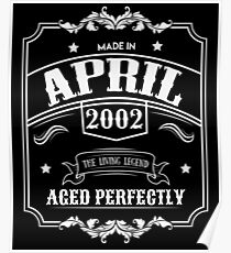 16th Birthday Gift - Born in April 2002 - Perfect BDay Present  Poster