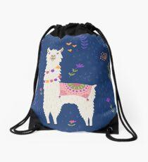 Llama on Blue Drawstring Bag