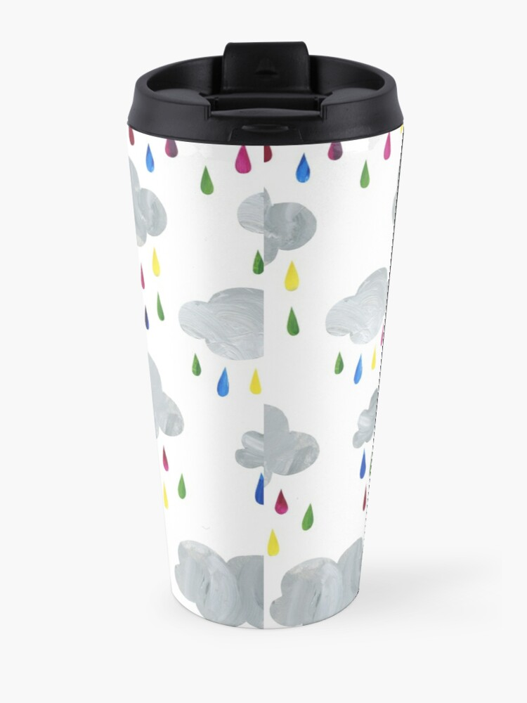 Alternate view of Rainbow Rain Clouds Travel Mug