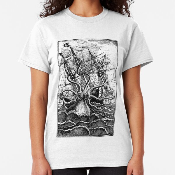 Vintage Kraken attacking ship illustration Classic T-Shirt