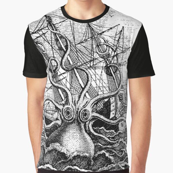 Vintage Kraken attacking ship illustration Graphic T-Shirt