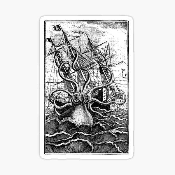 Vintage Kraken attacking ship illustration Sticker