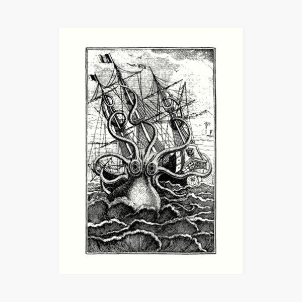 Vintage Kraken attacking ship illustration Art Print