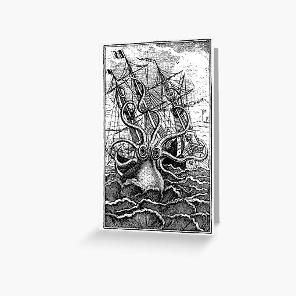 Vintage Kraken attacking ship illustration Greeting Card