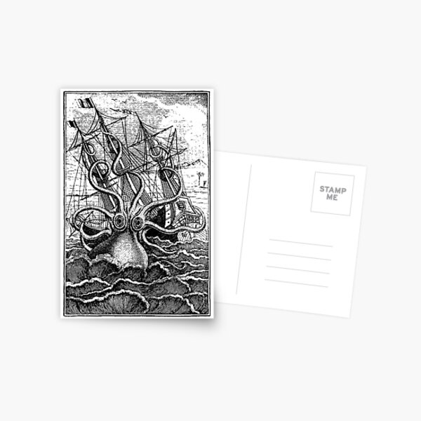 Vintage Kraken attacking ship illustration Postcard